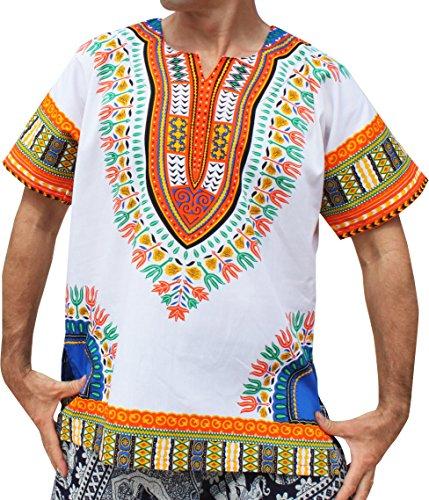 RaanPahMuang Brand Unisex Bright White Cotton Africa Dashiki Shirt Plain Front, X-Small, White Multicoloured Orange