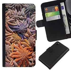 WINCASE (No Para Z3 plus+ / Z3 compact) Cuadro Funda Voltear Cuero Ranura Tarjetas TPU Carcasas Protectora Cover Case Para Sony Xperia Z3 D6603 - líneas de colores pastel limpia