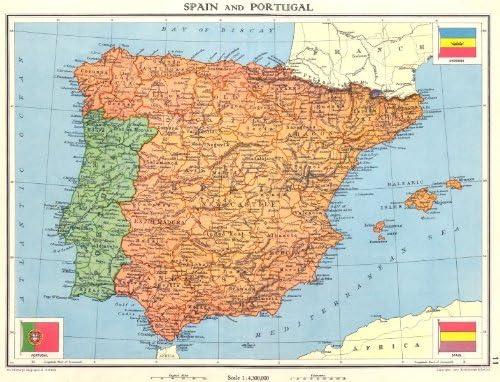 Iberia. España y Portugal Old Antiguo Mapa Vintage – 1938 – Juego ...