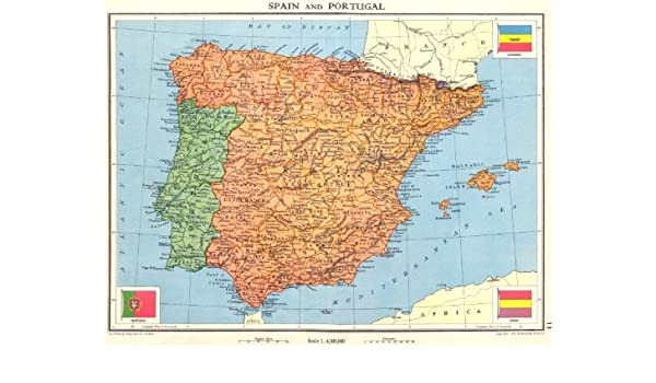 Amazon.com: IBERIA. Spain and Portugal - 1938 - old map ...