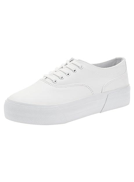 oodji Ultra Mujer Zapatillas de Piel Sintética de Suela Gruesa, Blanco, 40 EU / 6.5 UK: Amazon.es: Zapatos y complementos
