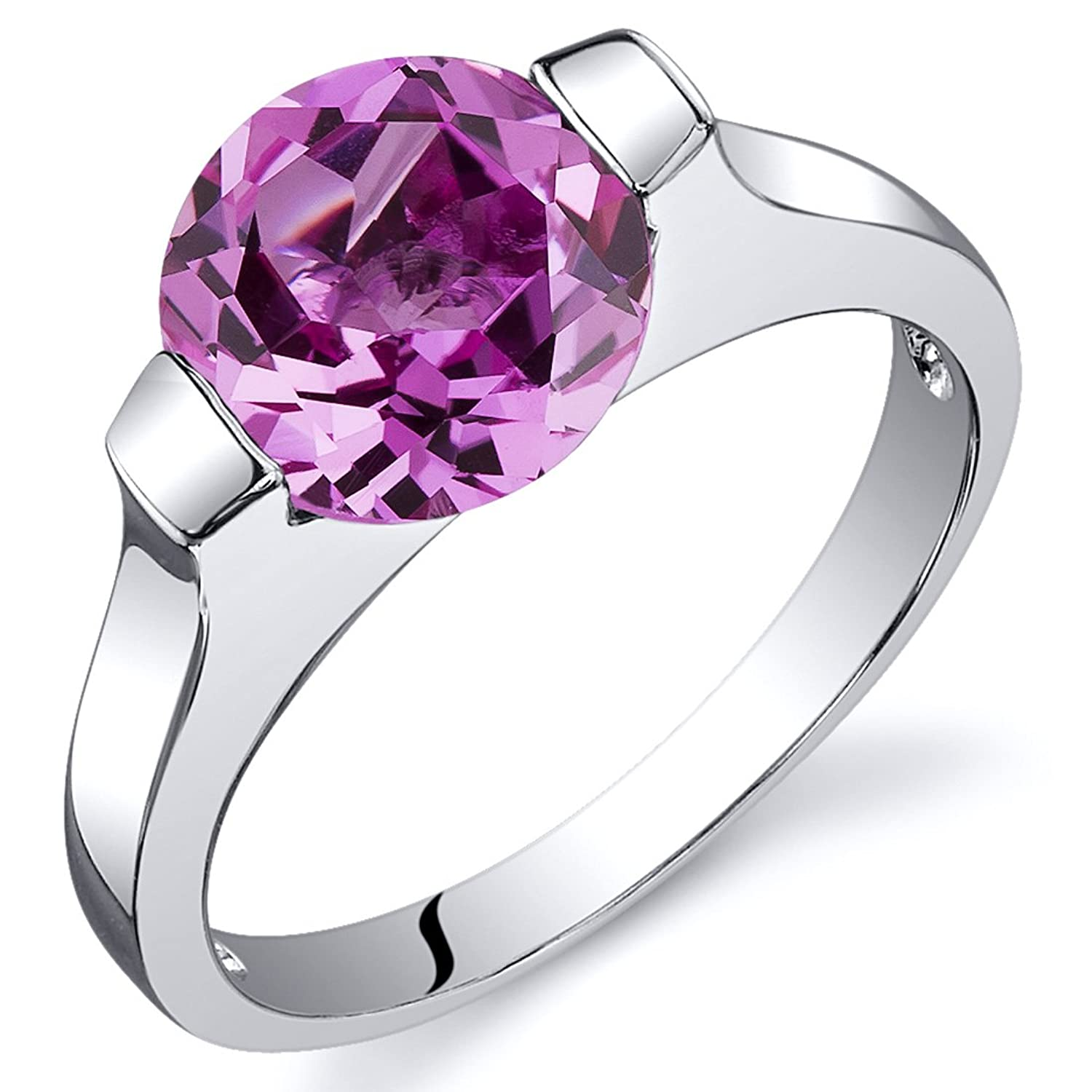Created Pink Sapphire Bezel Ring Sterling Silver Rhodium Nickel Finish 2.75 Carats Sizes 5 to 9