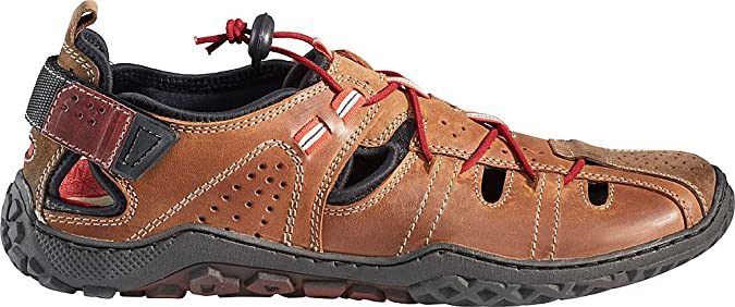 Nordcap Trekkingsandalen / Herren Ledersandalen, Wander- und Outdoor-Sandalen mit regulierbaren Schnürsenkel, Klettverschluss und Profilsohle für extra Trittsicherheit (Größen: 40 - 46, Farbe: Braun)