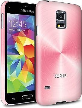 Personalizado Efecto Metal Cepillado Impreso Funda Mate para el Samsung Galaxy S5 Mini/Rosa Orquidea Diseño/Inicial/Nombre/Texto Carcasa/Estuche/Case Snap: Amazon.es: Electrónica