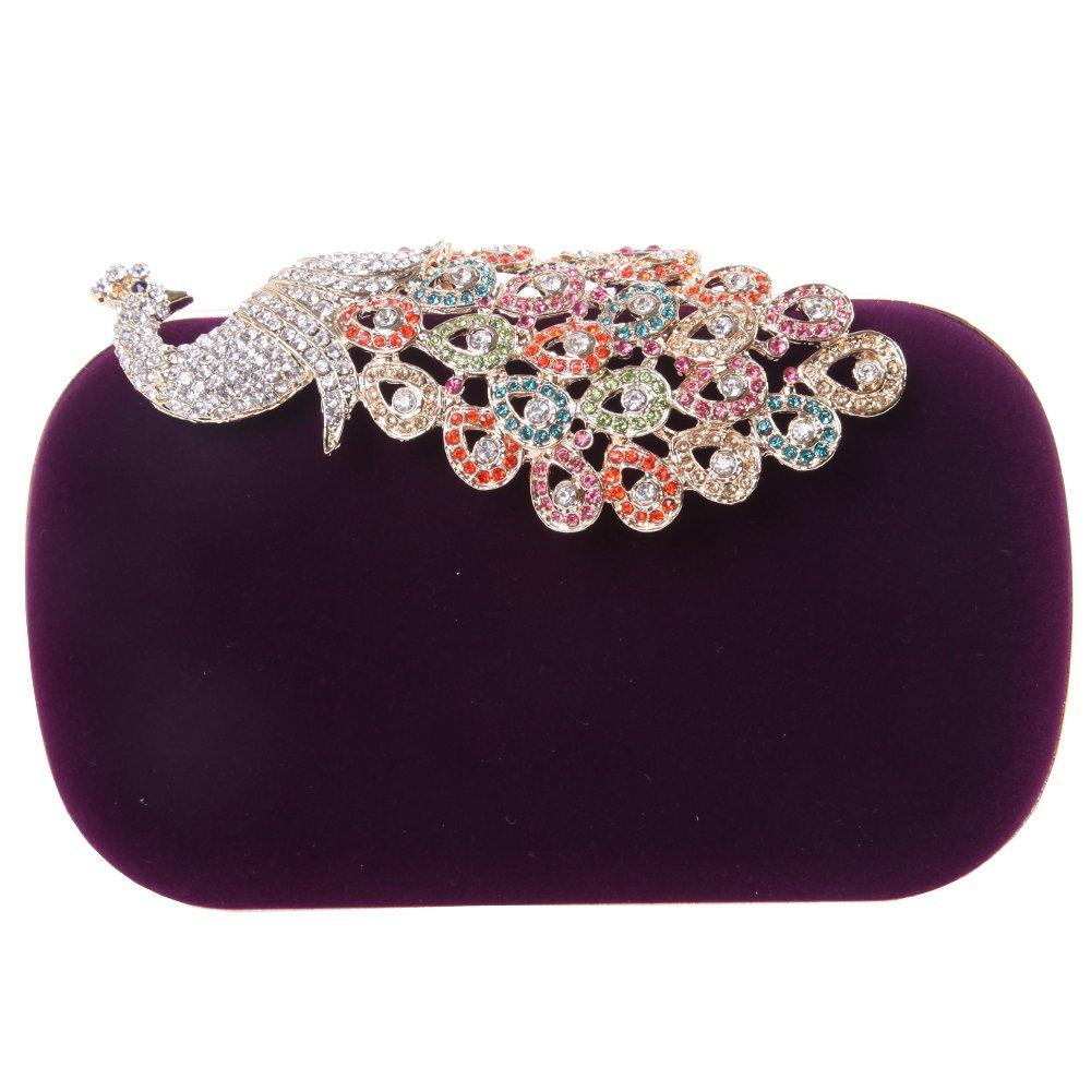 Fawziya Velvet Clutch Purse Rhinestones Peacock Clutch Evening Bag-Purple