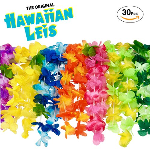 Hawaiian Leis Luau Party Supplies: Premium Quality Soft Feel Fabric - Juicy Color Flower Lei Design - Set Of 30 Tropical Necklaces - The Original Quality Leis Only From Flag (Hawaiian Leis In Bulk)