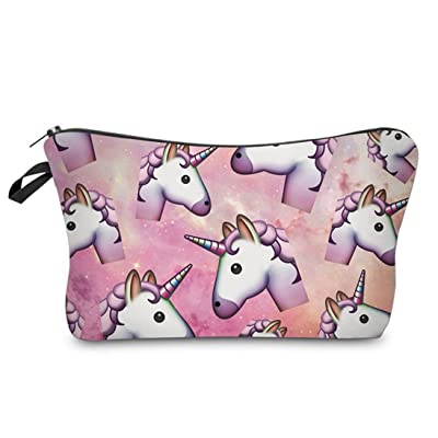 Catnew Women Emoji Unicorn Printed Makeup Pouch Handbag Cosmetics Bag Case Purse 60%OFF