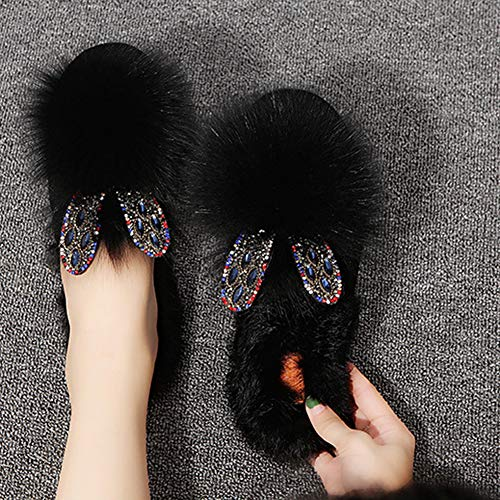 Lovely Flip In Peluche Slippers Flops Ears Da Rabbit Sweet Xhche Bedroom Donna Cotone Nero Girls Casual Cute Pantofole Casa CpFq5wX8