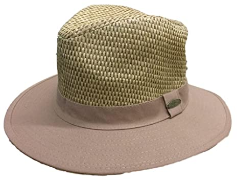 a73fe74cc63aef Panama Jack Men's Straw Woven Canvas Brim Safari Hat (Medium, Burnt Umber)