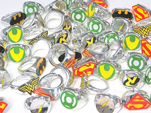 DC Superhero Novelty Power Rings 4 Dozen (48