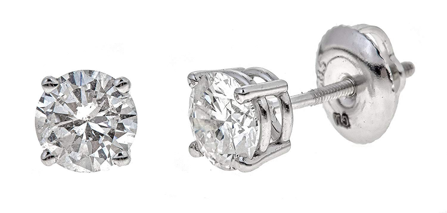 AGS Certified 1.0 Cttw Brilliant-Cut Diamond Classic 4-Prong Screw-Back Stud Earrings (M-N Color, I1-I2 Clarity), 14K White Gold by The Diamond Channel