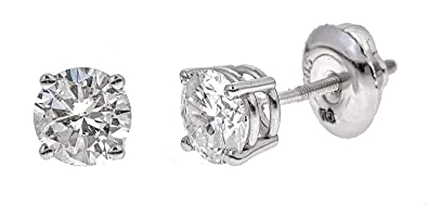 576a9cfcf AGS Certified Brilliant-Cut Diamond Classic 4-Prong Screw-Back Stud Earrings  in 14k White or Yellow Gold (M-N Color, I1-I2 Clarity) - Choice of Carat ...