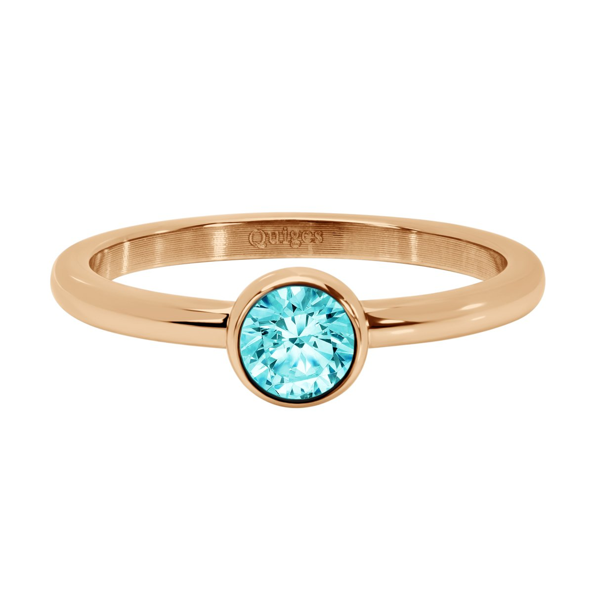 Quiges Stainless Steel Rose Gold with Round Light Blue Zirconia Inner Ring 2mm Height for Stackable Ring Collection