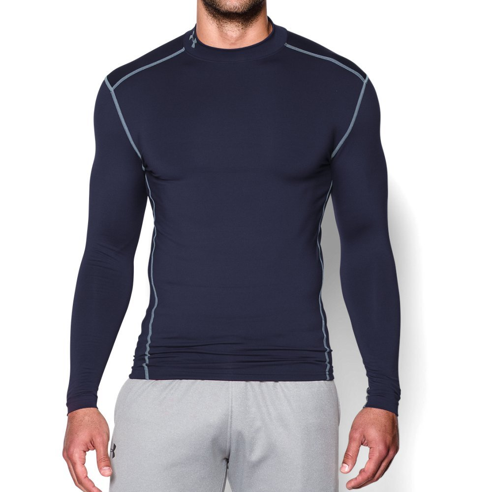 Under Armour Men's ColdGear Armour Compression Mock Long Sleeve Shirt, Midnight Navy (410)/Steel, XX-Large by Under Armour