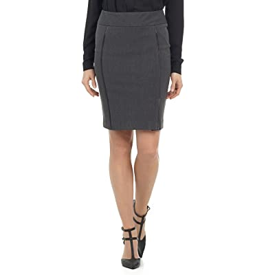 Rekucci Collection Women's Ease in to Comfort Pull-on Pencil Skirt with Piping (14, Charcoal) at Women's Clothing store