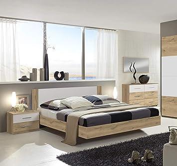 PEGANE Chambre Adulte 160 X 200 cm Imitation chêne Poutre/Blanc ...