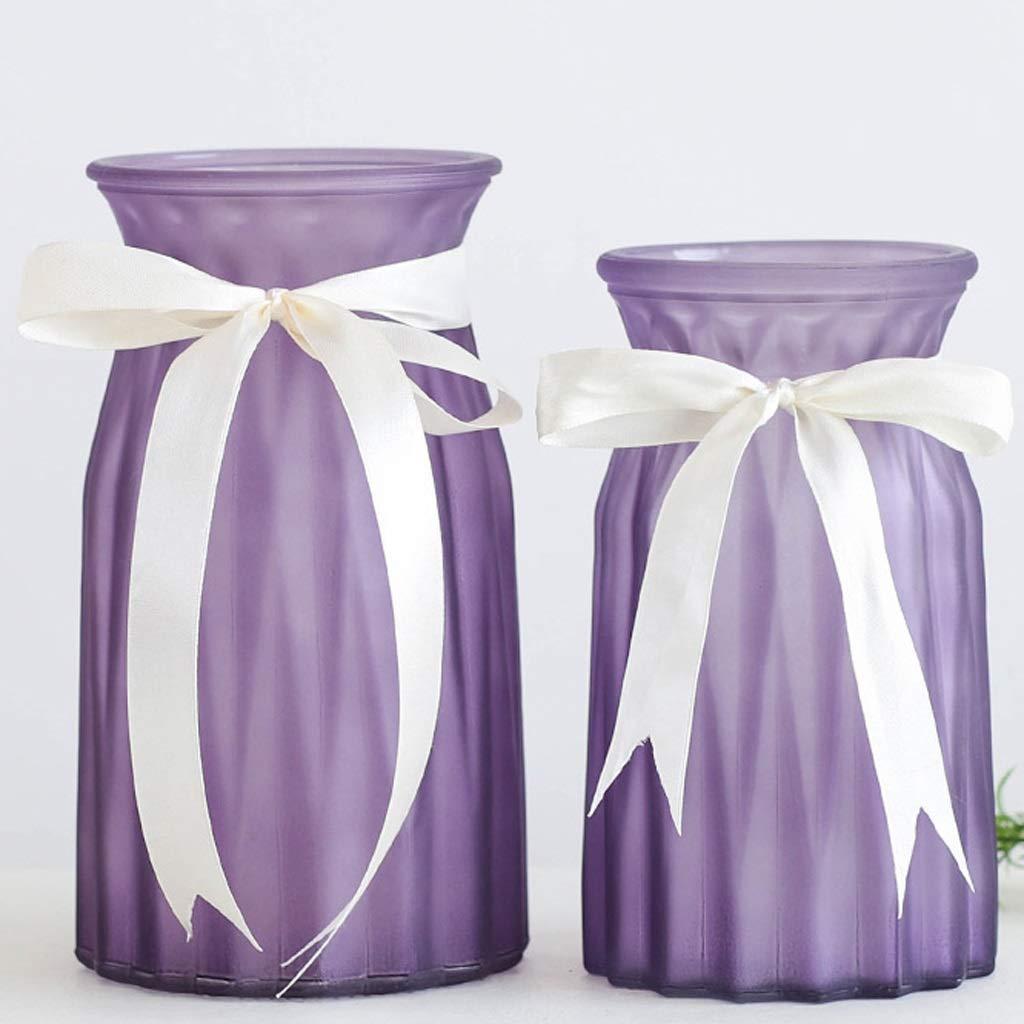 透明ガラス花瓶、水の文化、花瓶、色の装飾、家庭用ツーピース包装 SHWSM (Color : Purple) B07SPQ6YNH Purple