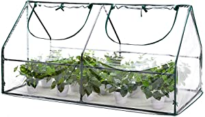AMERLIFE Portable Mini Greenhouse Waterproof UV Protected PVC Cover Suitable for Garden Patio Backyard Indoor Outdoor Use Extra Hooks, 71''x36.3''x36.3'', Green