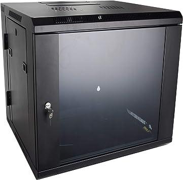 Armario para servidor de montaje en pared 9U por quicktec 19 inch it Red Rack Gabinete de Servidores, puerta de cristal Lock w/ventilador (qtsc9u0002): Amazon.es: Electrónica