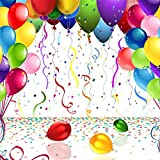 OFILA Balloons Backdrop 5x5ft Coloured Ribbons Birthday Party Decoration Interior Wallpaper Event Activity Baby Shower Theme Children Kids Boys Girls Toddler Portraits Digital Video Studio Props