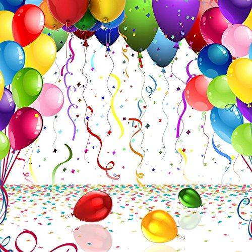 OFILA Colored Balloons Backdrop 5x5ft Birthday Party Decoration Children Adult Elderly Birthday Photobooth Baby Shower Party Decoration Graduation Photos Tea Party Shoots Engagement Party Video Props