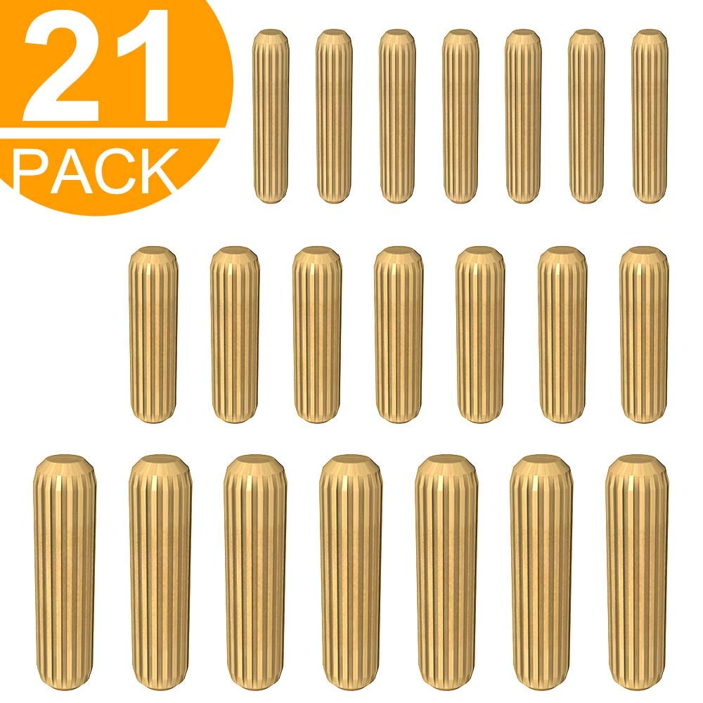 Act 21 Pcs Assorted Wooden Dowels M6 M8 M10 Hard Wood Grooved Plugs Furniture Woodwork Grooved Fluted Pin Craft 6mm 8mm 10mm