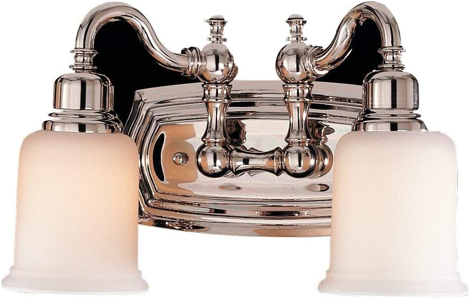 "Feiss VS8002-PN Canterbury Glass Wall Vanity Bath Lighting, Chrome, 2-Light (14""W x 8""H) 200watts"