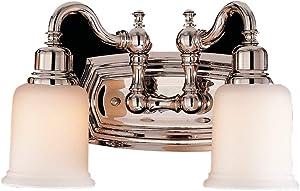 "Feiss VS8002-PN Canterbury Glass Wall Vanity Bath Lighting, Chrome, 2-Light (14""W x 8""H) 200watts"