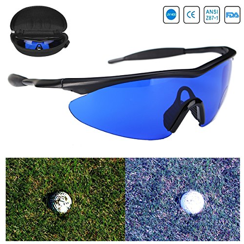 Golf Ball Finder Locating Glasses Blue Lens Less Straining Sunglasses Goggles with - Ball Golf Sunglasses Finder
