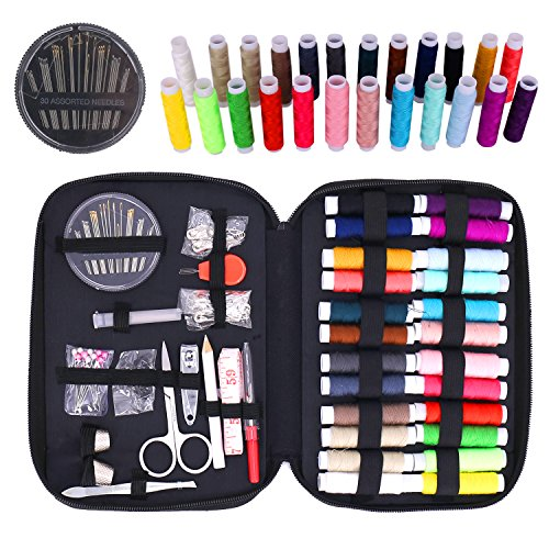 Sewing Kit ,Over 90 pcs Premium Sewing Supplies for Home / Travel/ DIY / Beginners / Emergency Include Scissors + Thimble + Thread + Needles + Tape Measure
