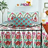 Cozy Line Home Fashions Happy Garden Bedding Quilt Set, Fuchsia Pink Flowers Print Pattern 100% COTTON Reversible Coverlet Bedspread, Gifts for Kids, Girls (Fuchsia Flowers, Full/Queen - 3 piece)