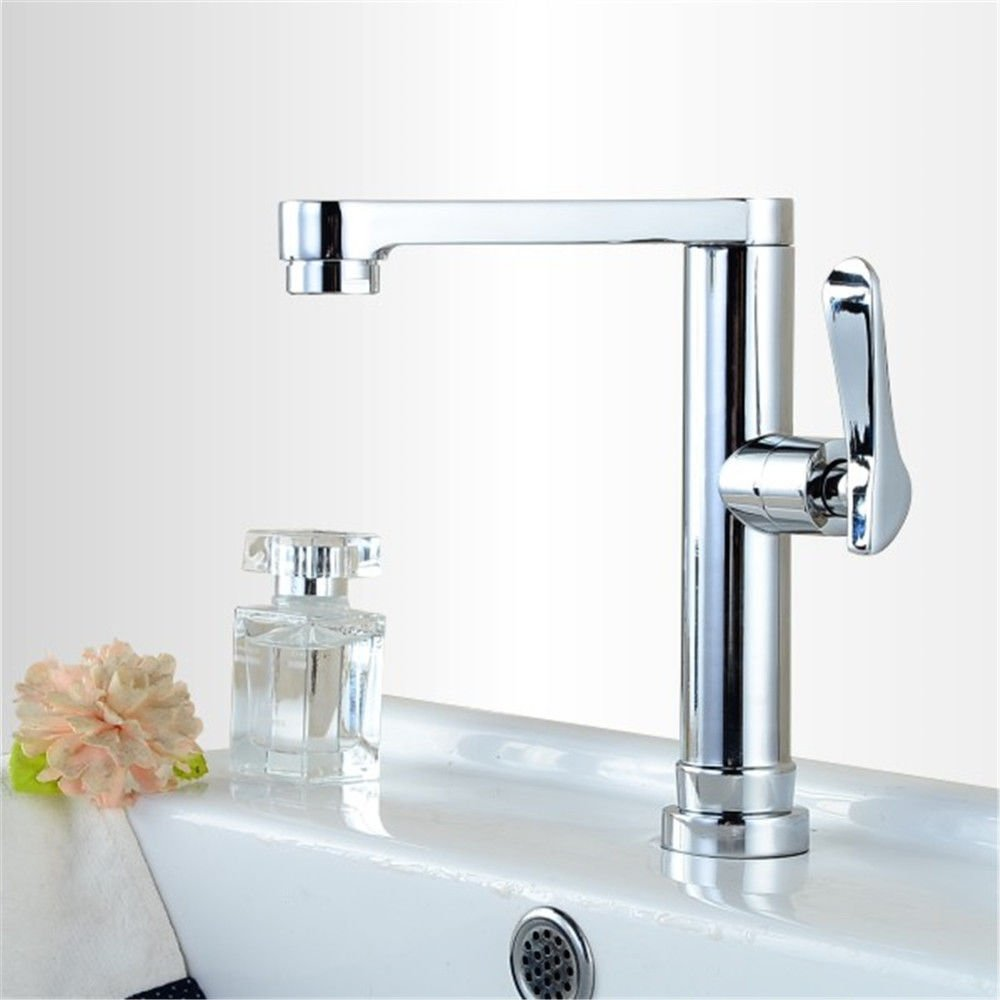 SADASD Modern Bathroom Basin Faucet Balcony 304 Stainless Steel Rotating Single Cold Faucet Single Hole Single Handle Ceramic Valve Mixer Tap With G1/2 Hose