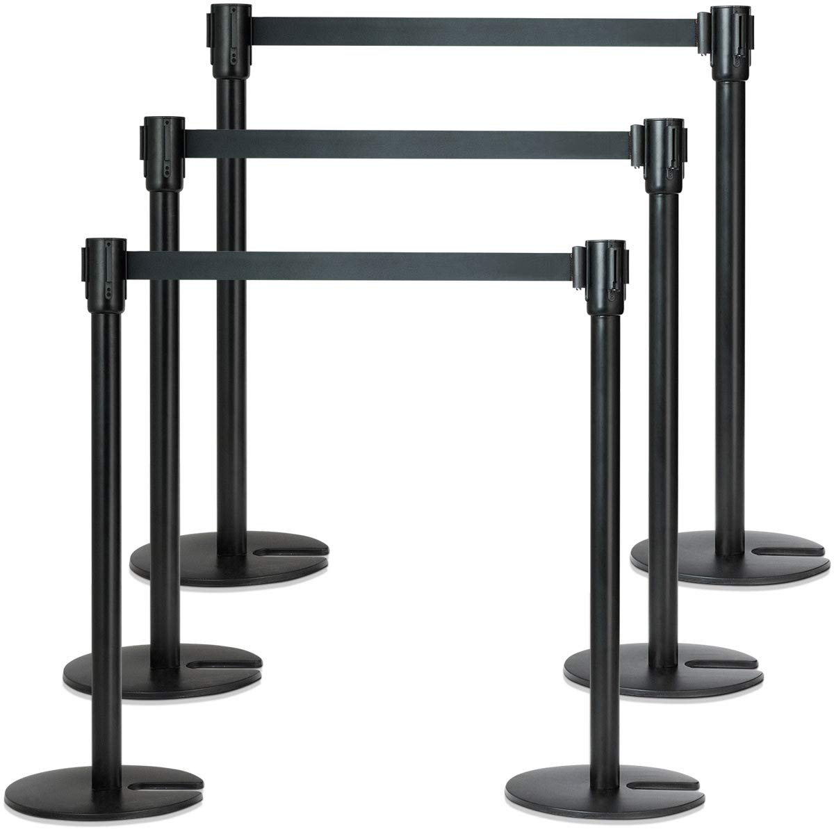 Goplus 6Pcs Stanchion Post Crowd Control Barrier Stainless Steel Stanchions with 3 Retractable Belt Posts Queue Pole, 37'' Height (Black)