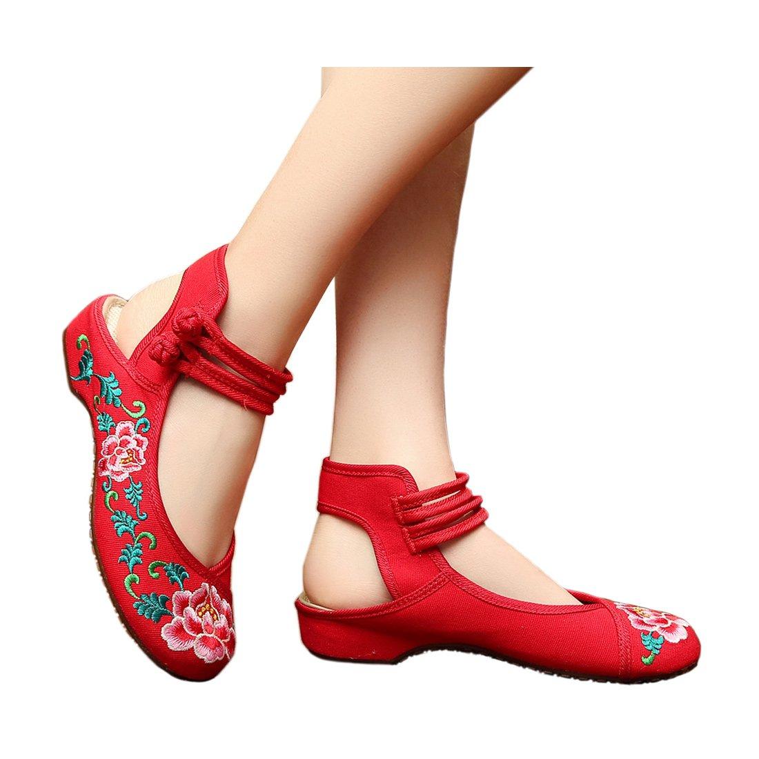 Femmes Broderie Round Toe Round Slingback Occasionnels Toile Fleur Sandales Femmes Légères Occasionnels Chaussures en Tissu Rouge 43cea04 - boatplans.space