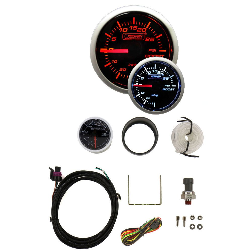 Boost Gauge Electrical Amber//white Premium Series with Peak Recall and Warning 52mm 2 1//16