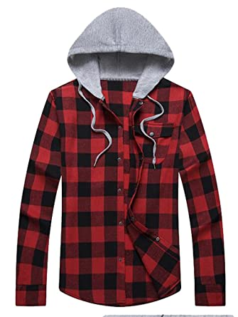 Sytx Mens Hoodie Flannel Plaid Long Sleeve Button Down Checkered Shirts by Sytx Men Clothes