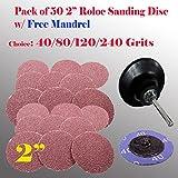 50+1 2'' Roloc Type R Sanding Abrasive Disc Free Mandrel Pad Roll Lock Air Sander (40 Grits + Mandrel)