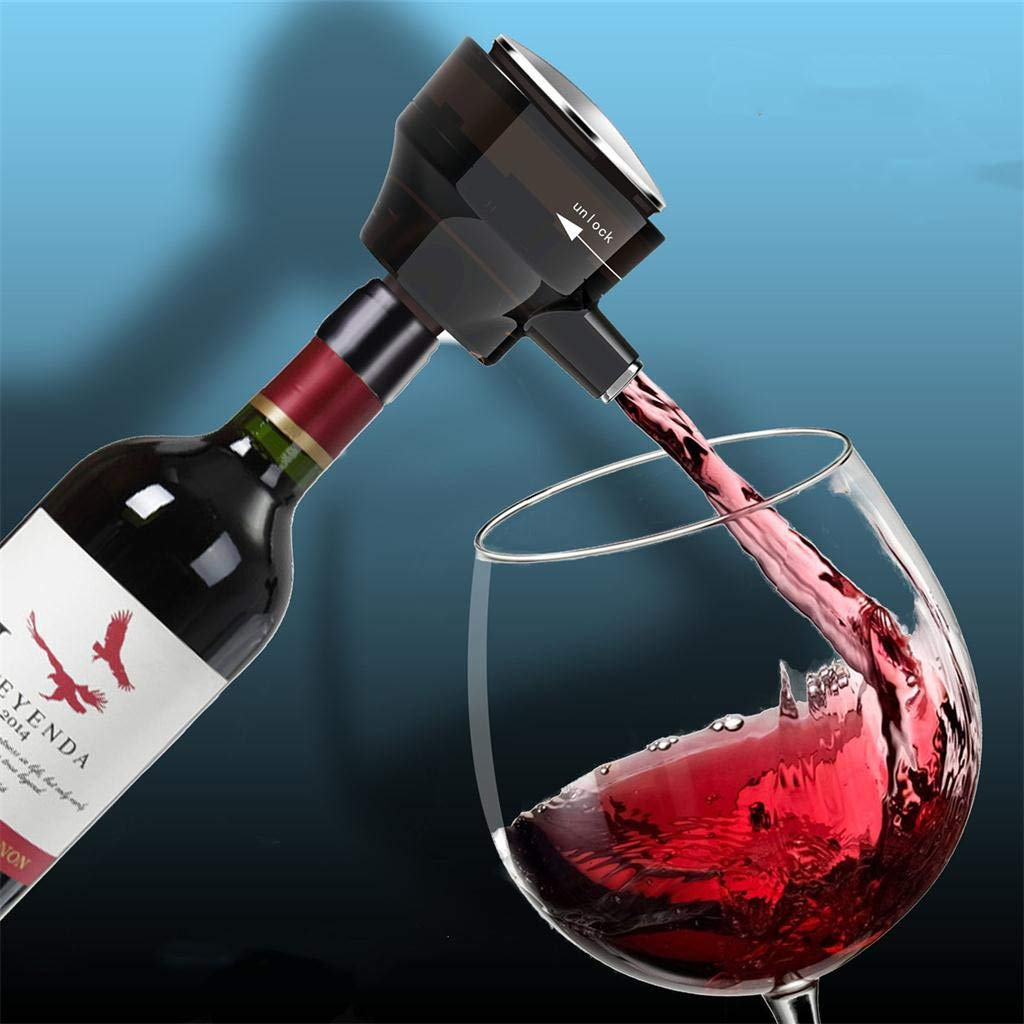 Nesee Electric Wine Aerator and Dispenser - Easy Touch Operation - Battery Operated - Intelligent Fast Decanter for Red and White Wine