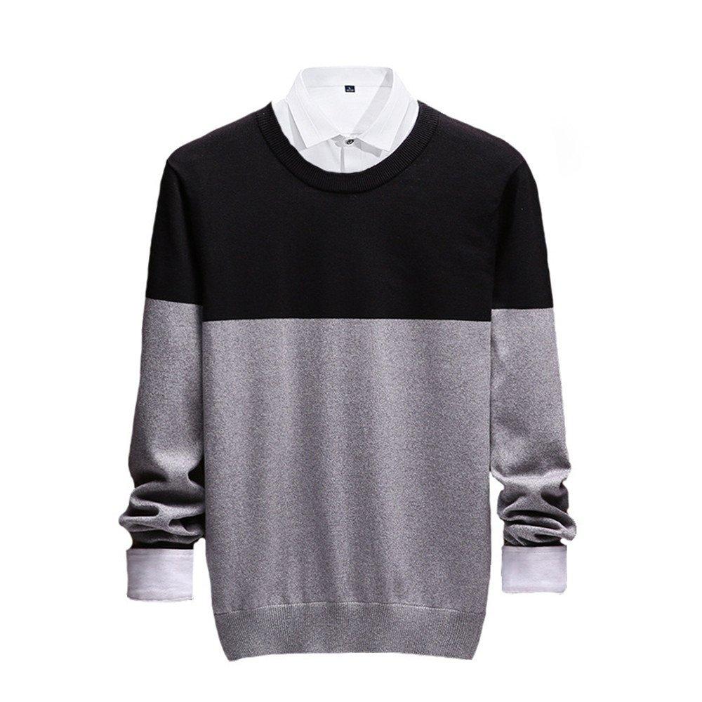 Jdfosvm männer aus Pullover, männer aus Pullover lässig Pullover um den Hals,Grau,L