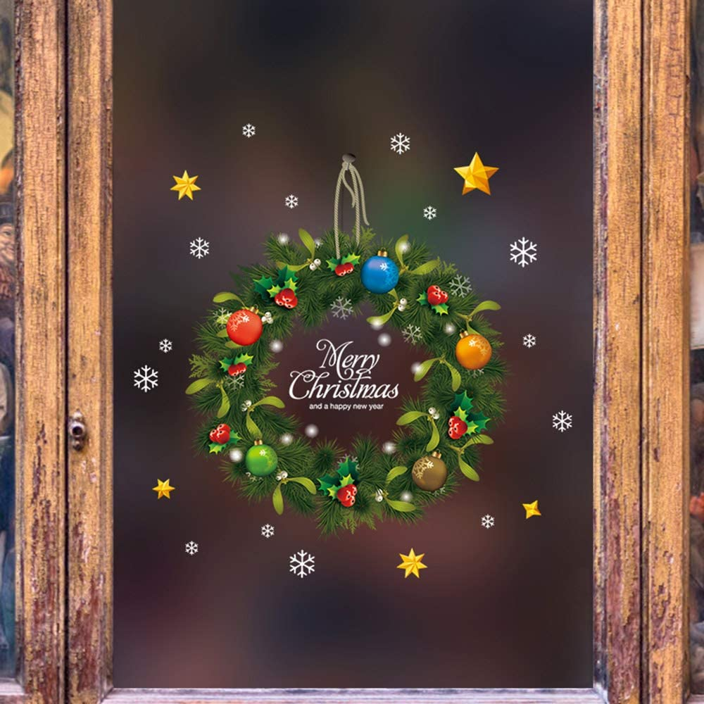 Arswin Christmas Window Decorations, Xmas Snowflake Santa Claus Reindeer Cling Stickers Winter Wonderland Decals Ornaments Party Supplies for Home Shop Glass Window Door Décor (Christmas Wreath)