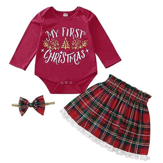 BBSMLIN Mi Primera Navidad Bebe Niña Disfraz Ropa de Conjunto ...