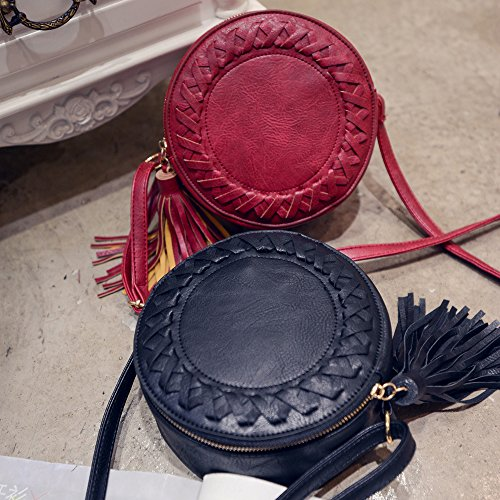 Circular Women Small Crossbody Phone Mini for Crossover Tassel Black Bag Shoulder Purse w7xqC657