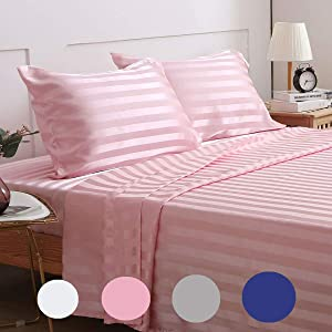 Satin-Silk Sheets Full Size Bed Set, Pink Soft Cooling Deep Pocket Sheets, Hypoallergenic, Wrinkle and Fade Resistant Bedding Set, 3 Piece, Striped