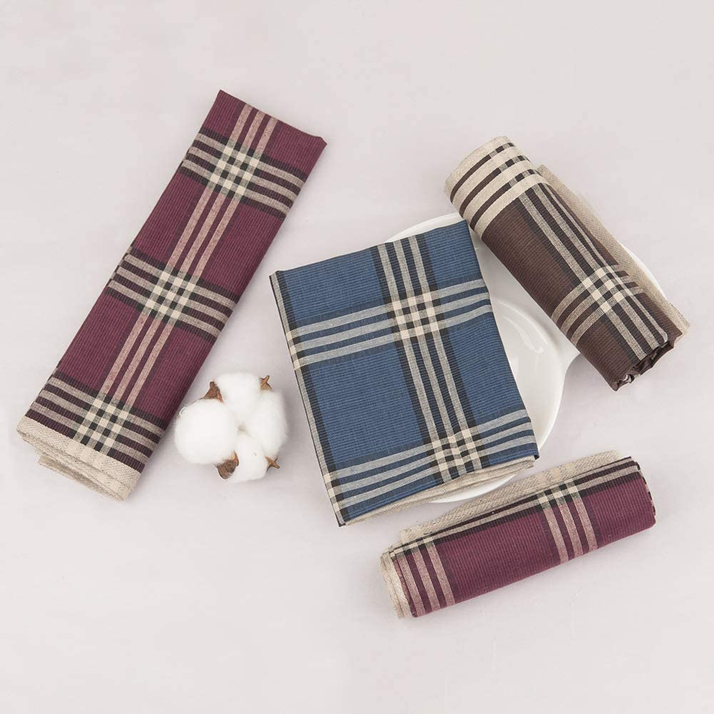 6//12 Pieces 16x16//40x40cm Houlife Classic 100/% 60S Cotton Mens Stripe Checkered Pattern Handkerchiefs Assorted Soft Plaid Hankies for Casual Fathers Day Gift