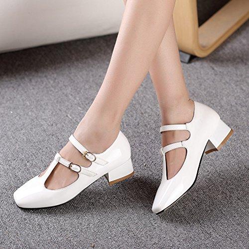 fibbia Retro fibbia femminili primavera scarpe e tacco con forma quadrata e autunno con sandali pelle di in ZHZNVX White testa a alto xRwU0vCRdq
