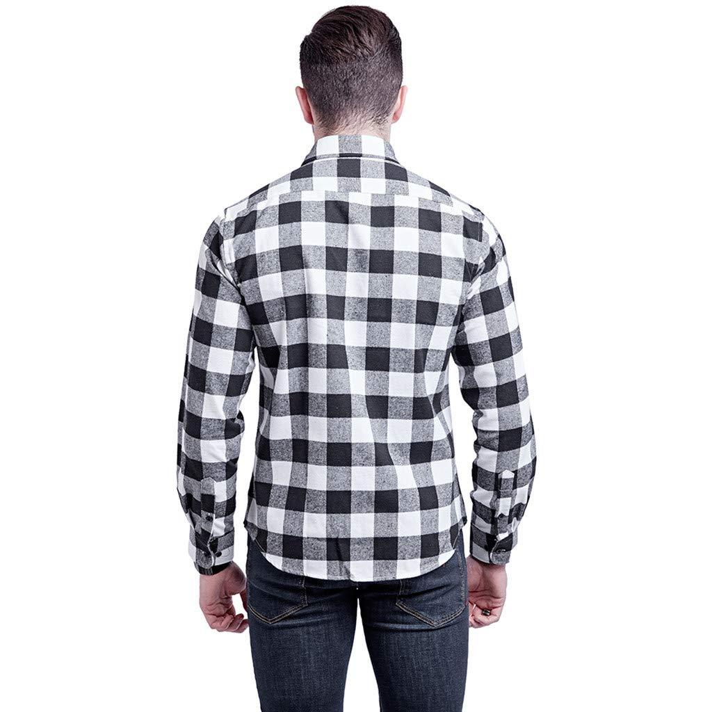 Serzul Men Lattice Printed Shirt Long Sleeved Button Down Plaid Top Shirt Single Pocket Double Pocket Shirt Blouse