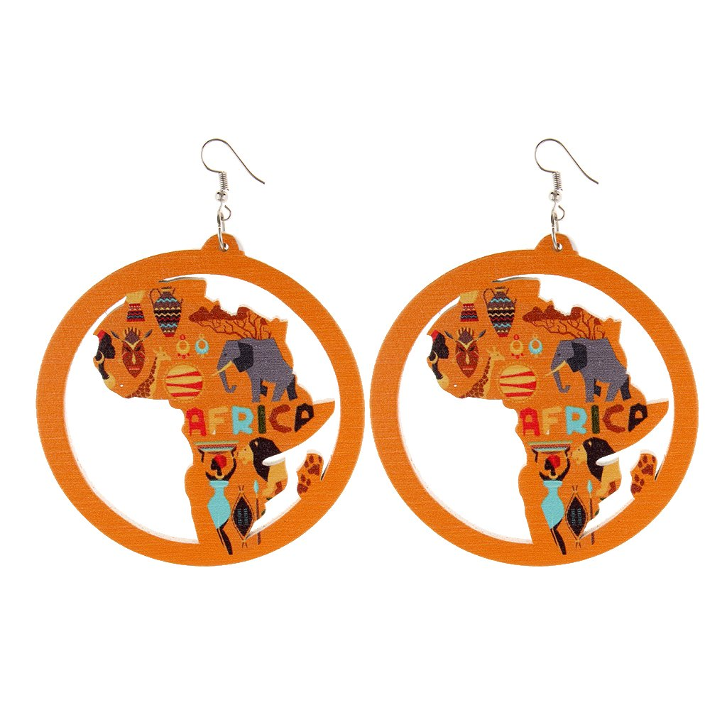 Dolity African Map Woman Wood Dangle Earrings Handmade Ethnic Jewelry Tribal Orange