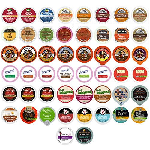 Coffee, Tea, Cider, and Hot Chocolate Single Serve Cups For Keurig K Cup Brewers Variety Pack Sampler, 50 Count