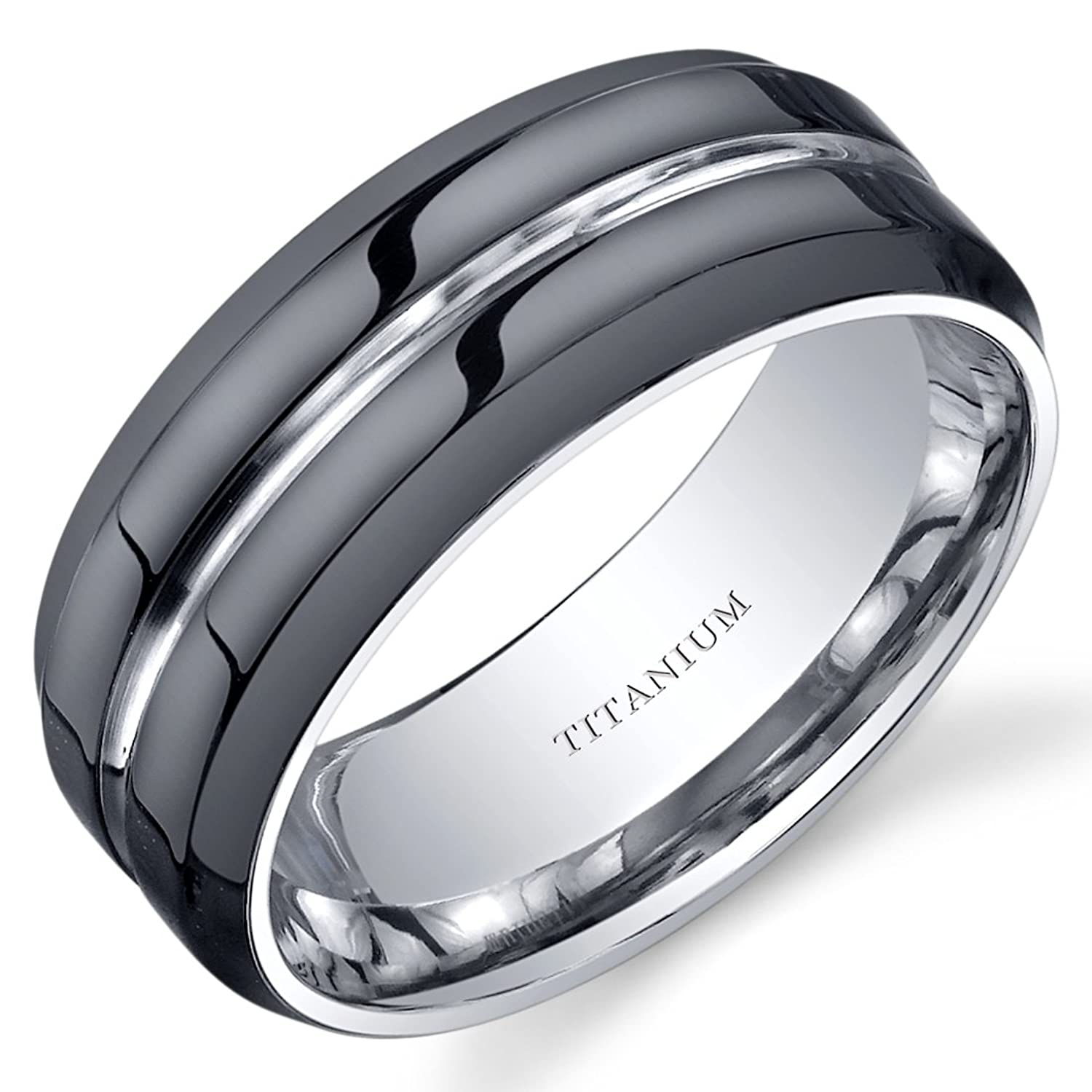 modern style fort fit mens 8mm black titanium wedding band ring