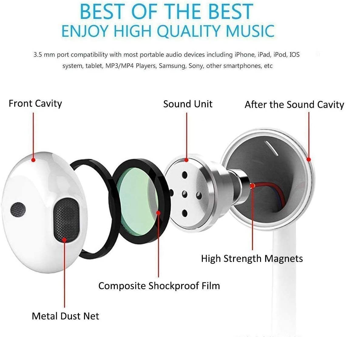 【2Pack】In-Ear Wired Earphone With 3.5MM Headphone//Earbuds//Headset With Microphone /& Volume Control Plug And Play Compatible With iPhone 6s//plus//6//5s//se//5c//Samsung//MP3//Android//PC (White)